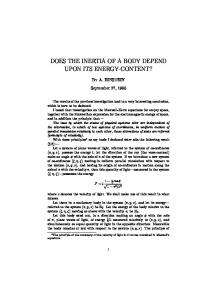 does the inertia of a body depend upon its energy ... - Fourmilab