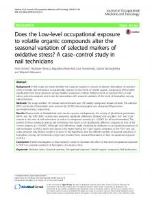 Does the Low-level occupational exposure to volatile organic ...