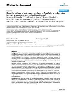 Does the spillage of petroleum products in Anopheles breeding sites ...