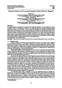 Does the Theory of Uncovered Interest Parity Hold for ...