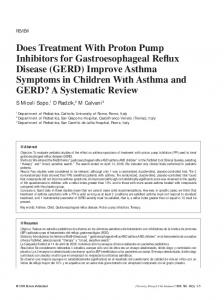 Does Treatment With Proton Pump Inhibitors for ...