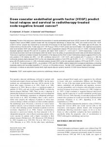 Does vascular endothelial growth factor (VEGF) predict local ... - Nature