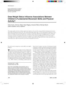 Does Weight Status Influence Associations Between ...