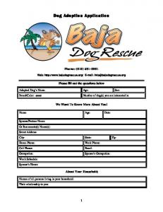 Dog Adoption Application - Baja Dog Rescue