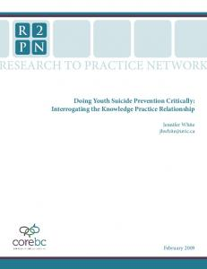 Doing Youth Suicide Prevention Critically - The Federation of ...