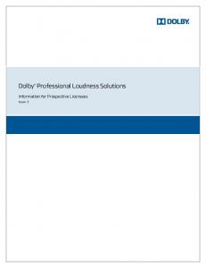 Dolby Professional Loudness Solutions