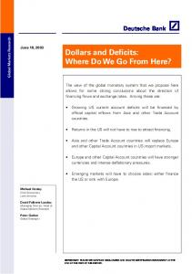 Dollars and Deficits: Where Do We Go From Here?