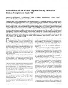Domain in Human Complement Factor H Identification of the Second ...