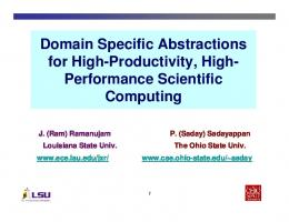 Domain Specific Abstractions for High - Computer Science