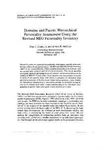 Domains and Facets: Hierarchical personality Assessment Using the ...