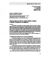 Domestic Service and the Labour Market in Spain: A Gender ...