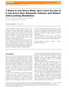 Domestic Violence and Women with Learn - Wiley Online Library