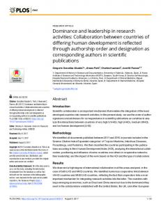 Dominance and leadership in research activities ... - PLOS