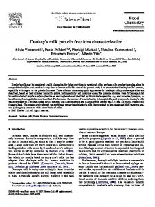 Donkey's milk protein fractions characterization Food ...