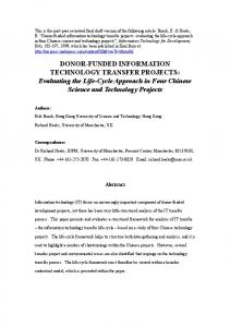 DONORFUNDED INFORMATION TECHNOLOGY TRANSFER ...