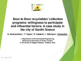 Door to Door recyclables' collection programs ...