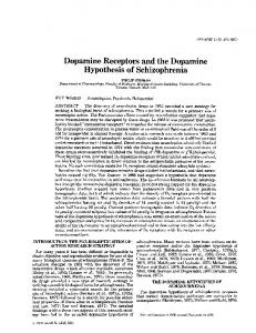 Dopamine Receptors and the Dopamine Hypothesis of Schizophrenia