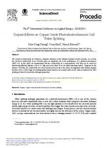 Dopant Effects on Copper Oxide Photoelectrochemical ... - ScienceDirect