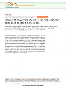 Doping of polycrystalline CdTe for high-efficiency ... - Semantic Scholar