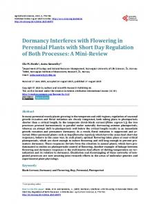Dormancy Interferes with Flowering in Perennial Plants with Short Day ...