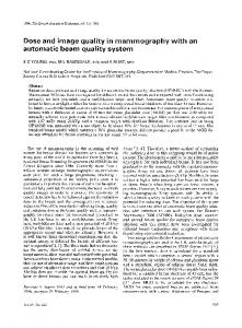 Dose and image quality in mammography with an ... - BIR Publications