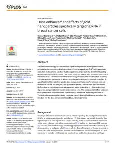 Dose enhancement effects of gold nanoparticles specifically ... - PLOS