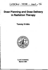 Dose Planning and Dose Delivery in Radiation Therapy - International ...