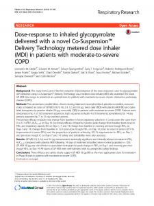 Dose-response to inhaled glycopyrrolate delivered with a novel ... - Core