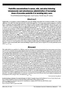 doses of procaine penicillin in lactating dairy cows - Europe PMC