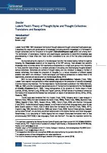 Dossier Ludwik Fleck's Theory of Thought Styles and Thought ...