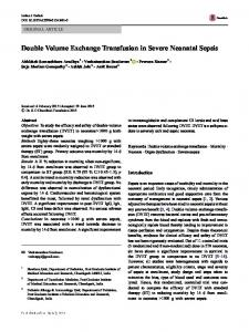 Double Volume Exchange Transfusion in Severe