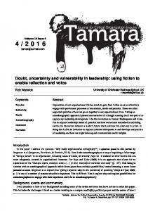 Doubt, uncertainty and vulnerability in leadership - Tamara: Journal for ...