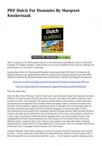 DOWNLOAD Dutch For Dummies By Margreet