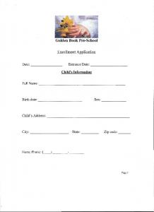 Download Enrollment Form - Golden Book Pre-School