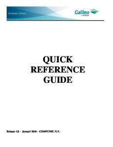 Download Galileo Quick Reference Guide - Galileo Caribbean