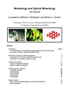 Download Mineralogy and Optical Mineralogy