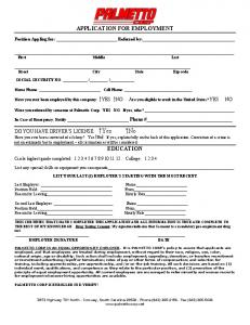 Download Our Employee Application - Palmetto Corp