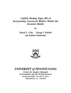 Download Paper - Penn Economics - University of Pennsylvania