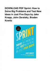 DOWNLOAD PDF Sprint: How to Solve Big Problems