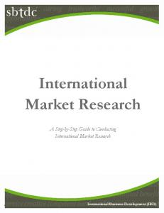 Download the International Market Research Guide - sbtdc