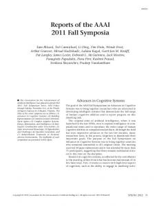 Download this PDF file - Association for the Advancement of Artificial ...