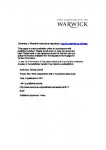 Download - Warwick WRAP - University of Warwick