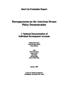 Downpayments on the American Dream Policy ... - CiteSeerX