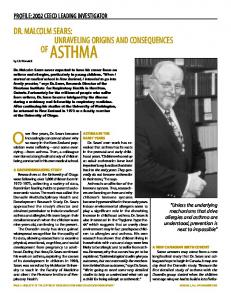 Dr Malcolm Sears Unraveling Origins And Consequences Of Asthma