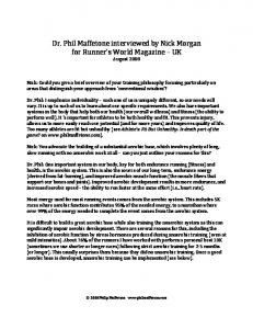 Dr. Phil Maffetone interviewed by Nick Morgan for Runner's World ...