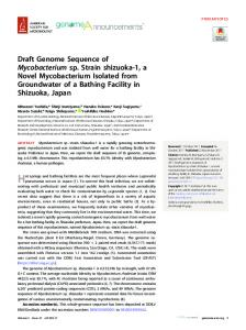 Draft genome sequence of Mycobacterium sp. strain shizuoka-1, a ...