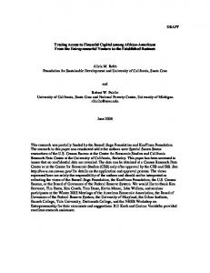 DRAFT Tracing Access to Financial Capital among African-Americans ...