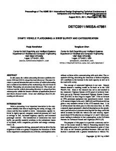 DRAFT: VEHICLE PLATOONING: A BRIEF SURVEY AND ...