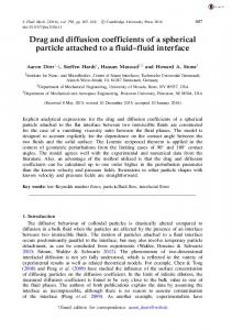 Drag and diffusion coefficients of a spherical particle ...