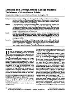 Drinking and Driving Among College Students - Web Archive @ HSPH